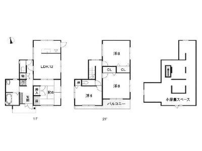 小屋根裏収納スペースのある4SLDK(間取)