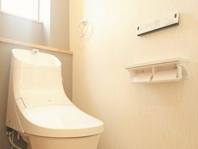 防カビ・抗菌・撥水等の性能を持つグレー色のクロスがアクセントのトイレです。(内装)